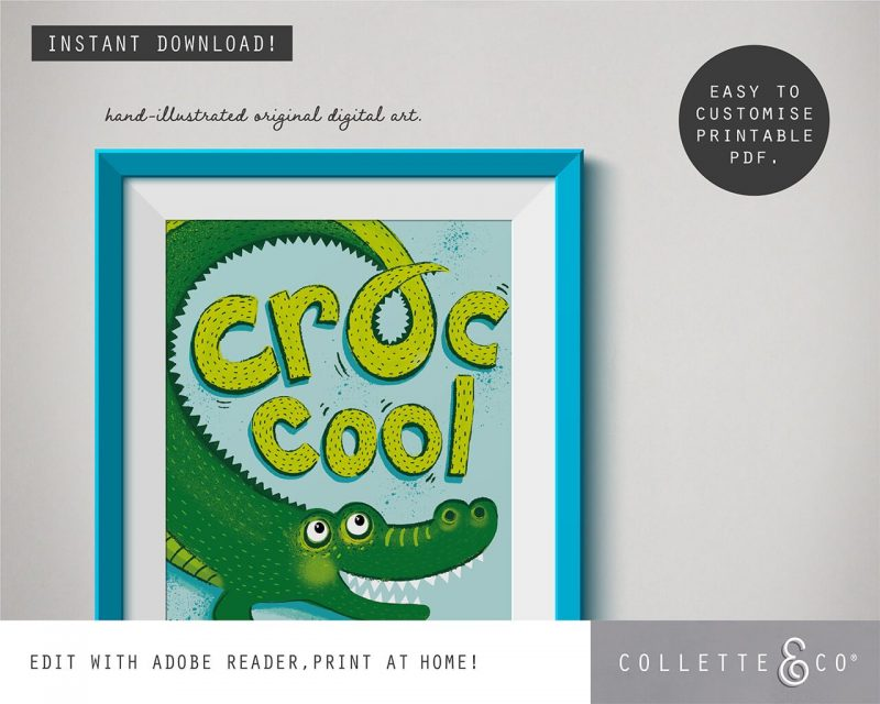 Animal Affirmations Printable Croc Cool Editable Collette and Co 1