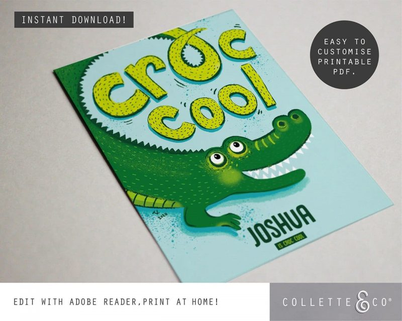 Animal Affirmations Printable Croc Cool Editable Collette and Co 2