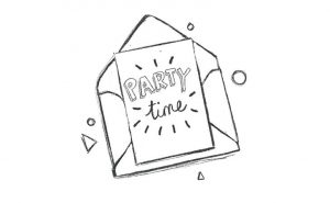Envelope Party time illustration Collette and Co