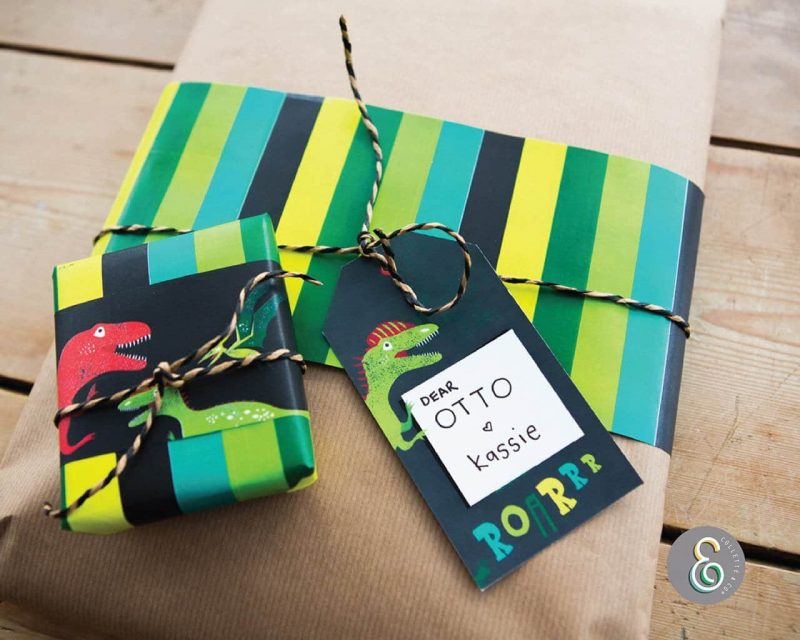 Dinosaur Party Favor Giftwrap Bundle Collette and Co3