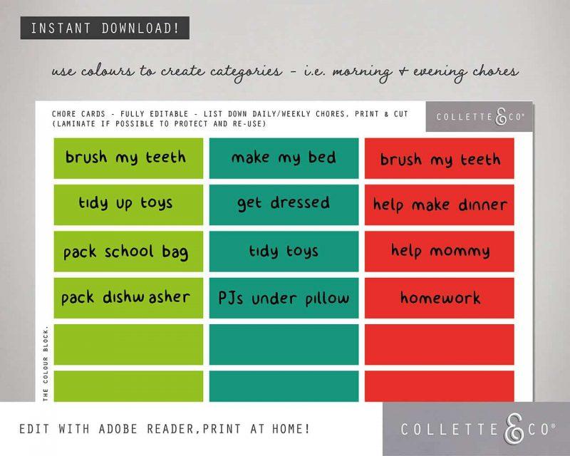 Dinosaur chore chart printable Editable Collette and Co 3