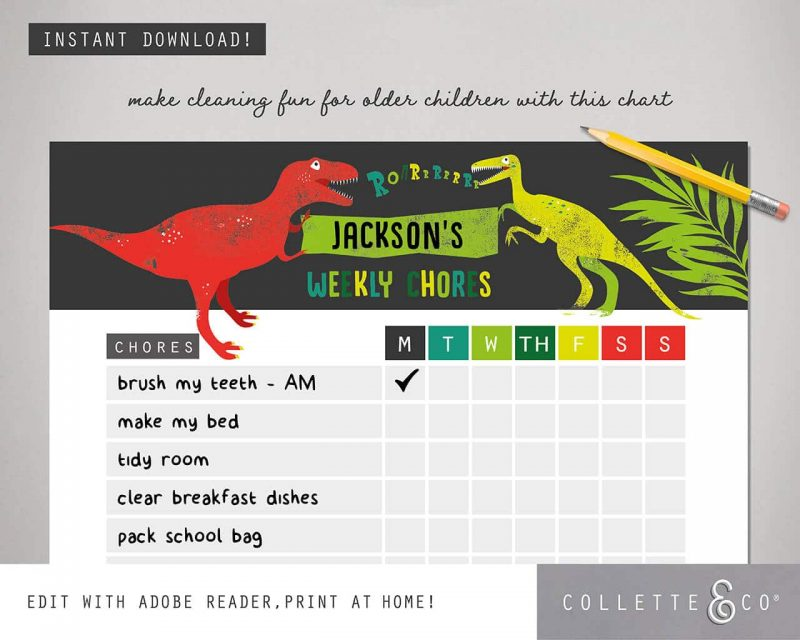 Dinosaur chore chart printable Editable Collette and Co 4