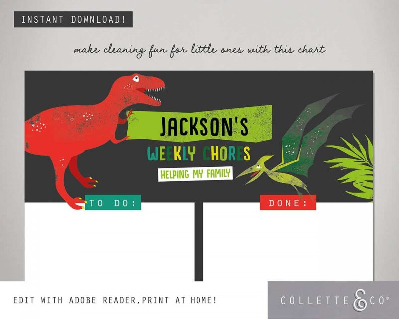 Dinosaur chore chart printable Editable Collette and Co 5