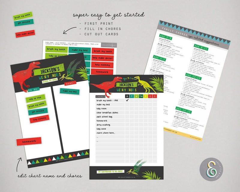 Dinosaur chore chart printable Editable Collette and Co 6