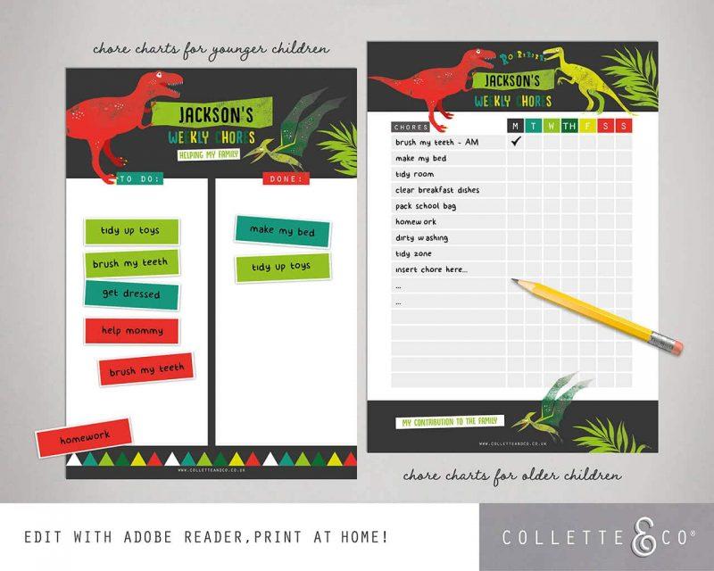 Dinosaur chore chart printable Editable Collette and Co 7