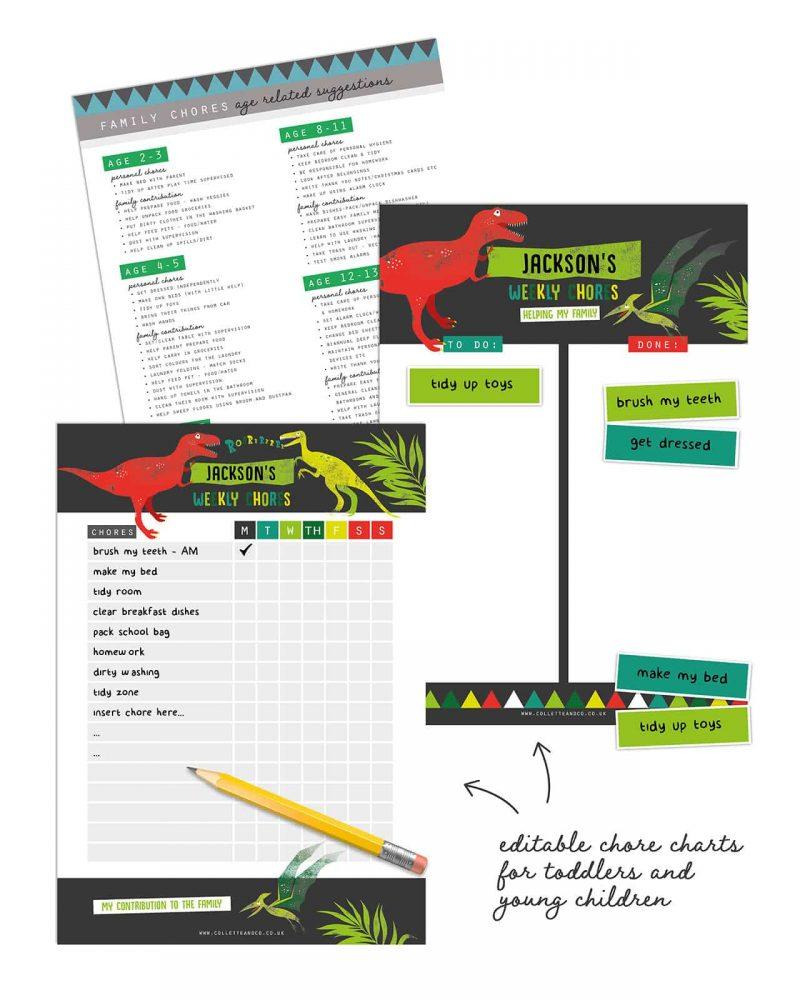 Dinosaur chore chart printable Editable Collette and Co 8