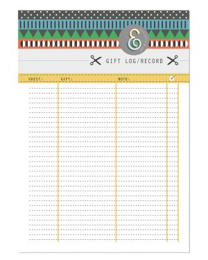 Gift Log Printable Editable Collette and Co 3