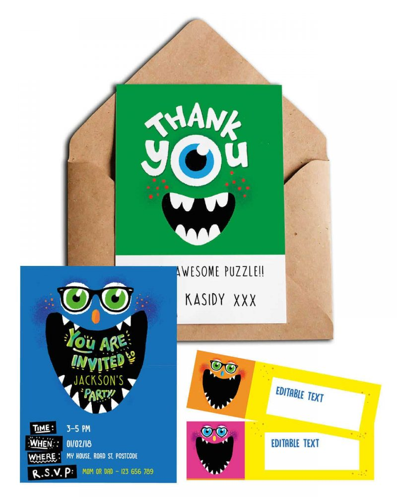 Monster Party Stationery pack Collette and Co11