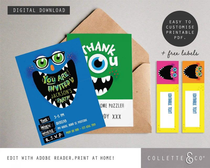 Monster Party Stationery pack Collette and Co3