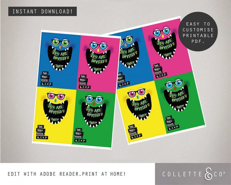 Monster Party Stationery pack Collette and Co8