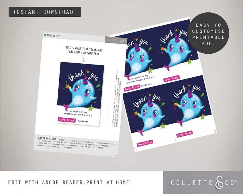 Narwhal Party Decorations Printable Editable Collette and Co 10