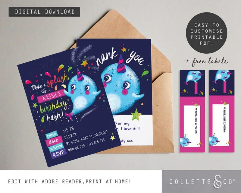 Narwhal Party Decorations Printable Editable Collette and Co 11