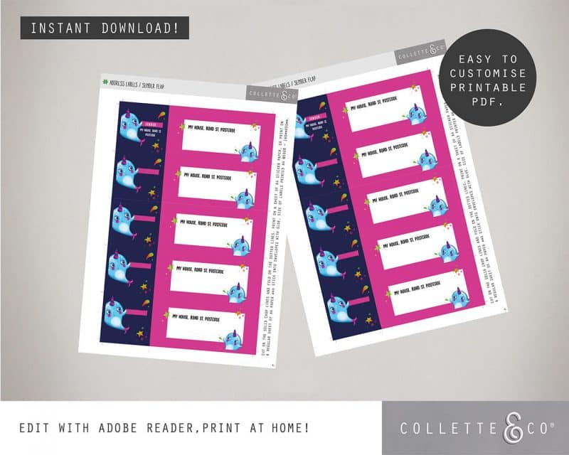 Narwhal Party Decorations Printable Editable Collette and Co 13
