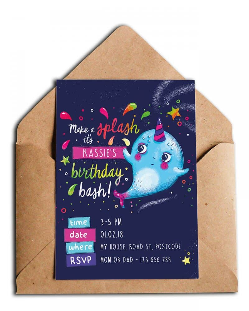 Narwhal Party Decorations Printable Editable Collette and Co 17