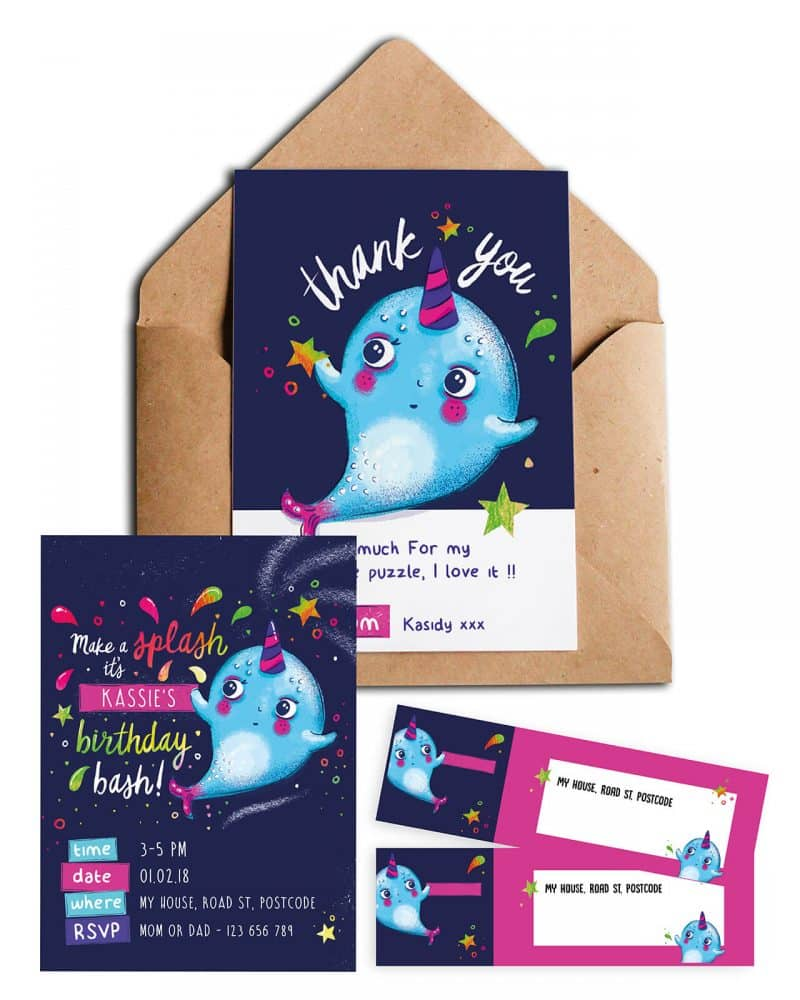 Narwhal Party Decorations Printable Editable Collette and Co 18