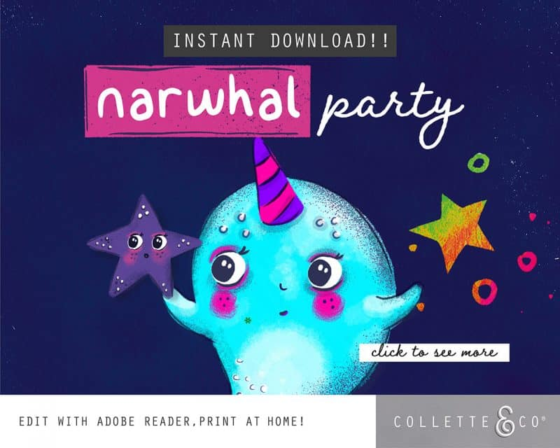 Narwhal Party Decorations Printable Editable Collette and Co 2
