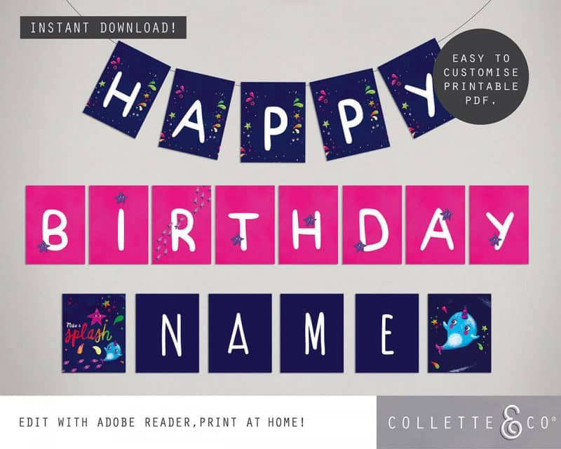 Narwhal Party Decorations Printable Editable Collette and Co 20
