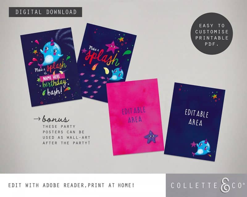 Narwhal Party Decorations Printable Editable Collette and Co 24