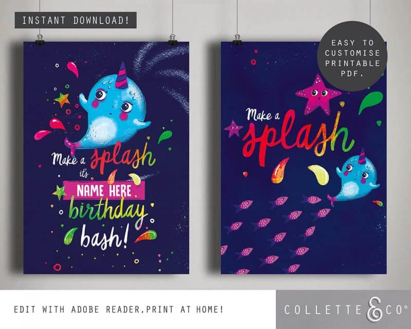Narwhal Party Decorations Printable Editable Collette and Co 25