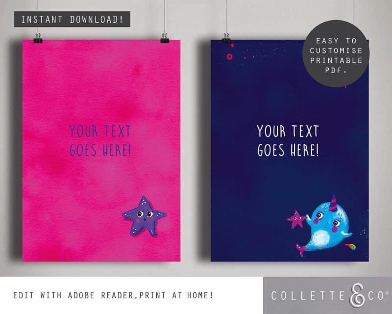 Narwhal Party Decorations Printable Editable Collette and Co 26