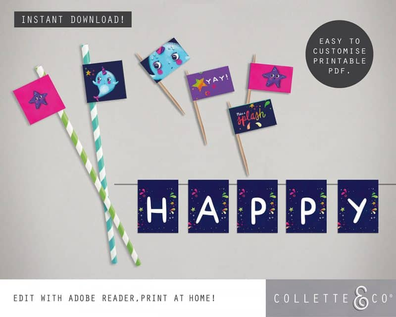 Narwhal Party Decorations Printable Editable Collette and Co 32