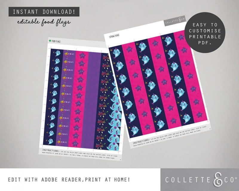 Narwhal Party Decorations Printable Editable Collette and Co 34