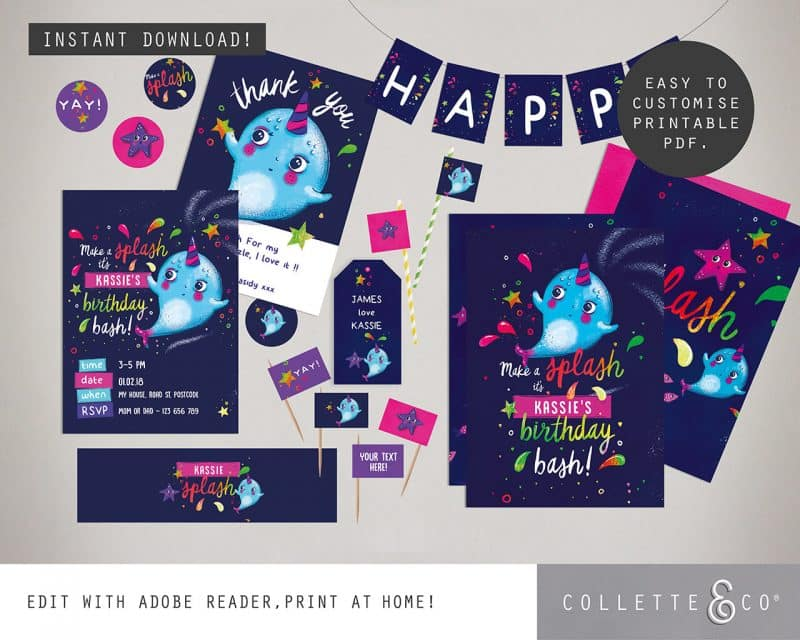 Narwhal Party Decorations Printable Editable Collette and Co 4