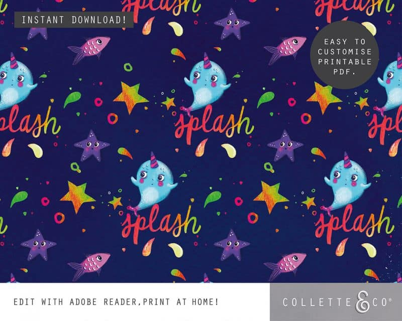 Narwhal Party Decorations Printable Editable Collette and Co 41