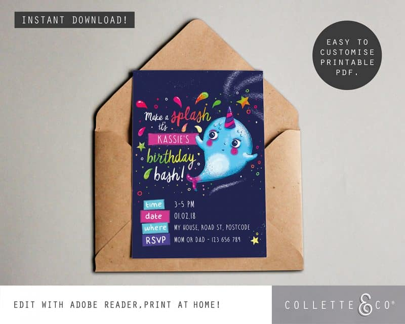 Narwhal Party Decorations Printable Editable Collette and Co 5