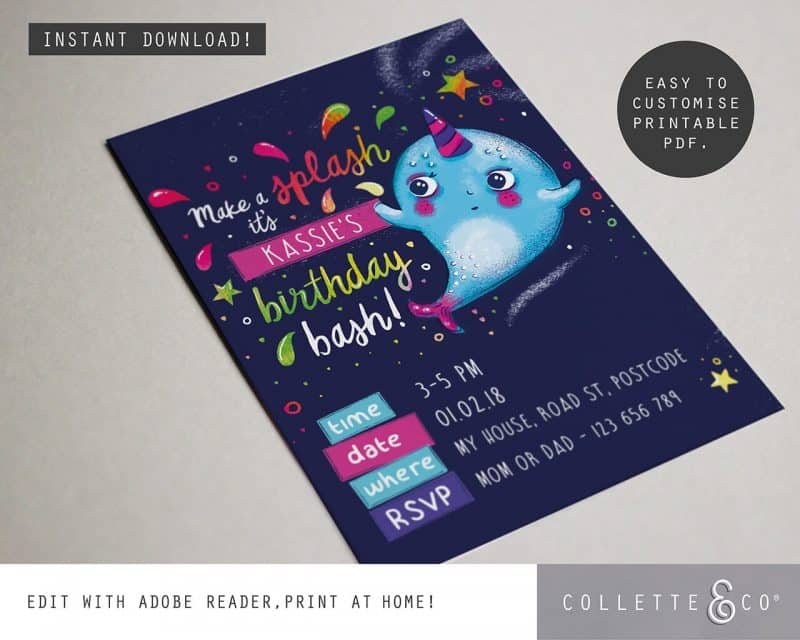 Narwhal Party Decorations Printable Editable Collette and Co 6