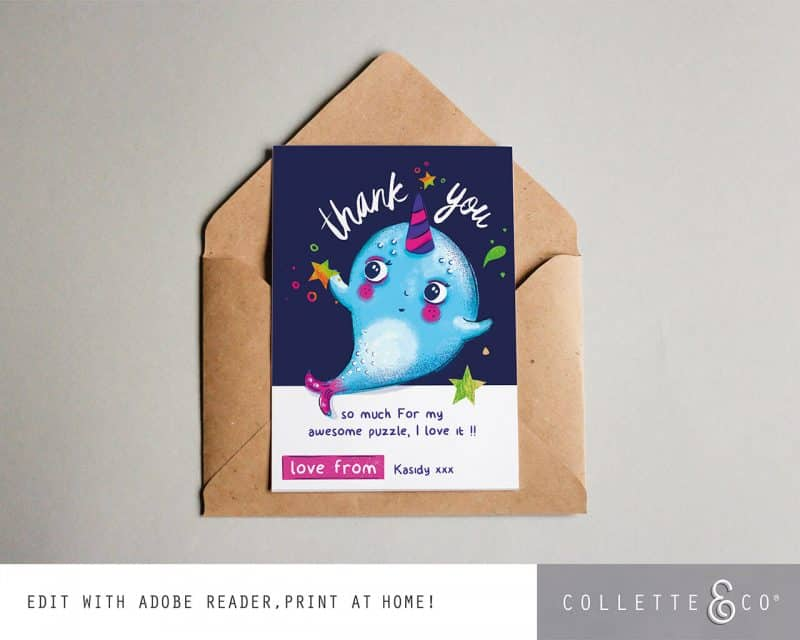 Narwhal Party Decorations Printable Editable Collette and Co 8