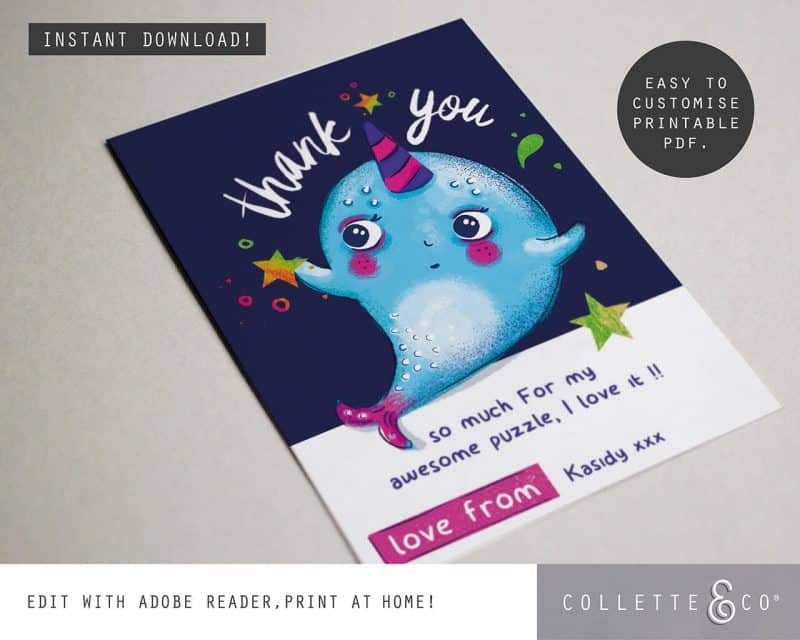 Narwhal Party Decorations Printable Editable Collette and Co 9