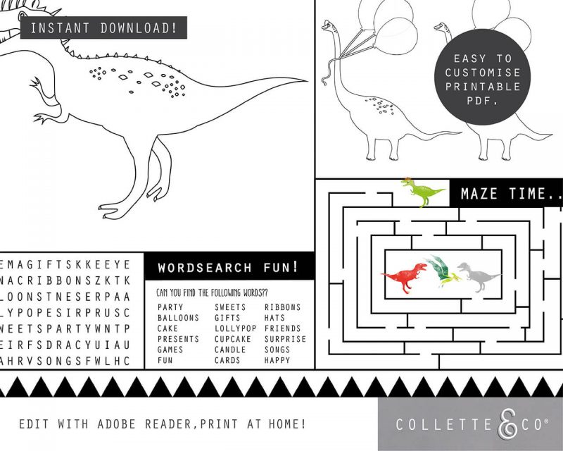Printable Dinosaur Party Activity Sheets Coloring In Editable Collette and Co 1