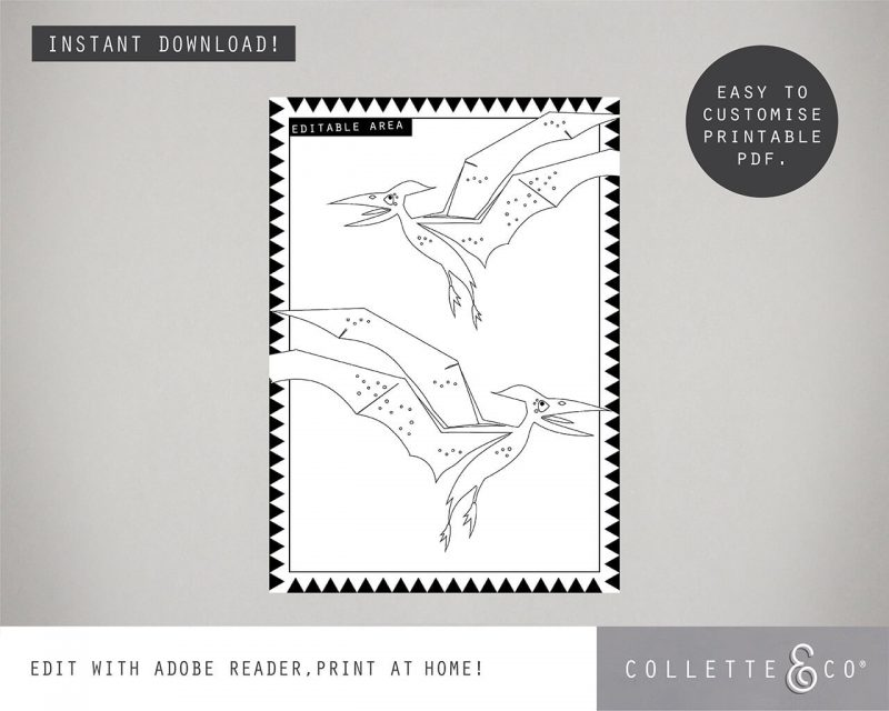Printable Dinosaur Party Activity Sheets Coloring In Editable Collette and Co 2