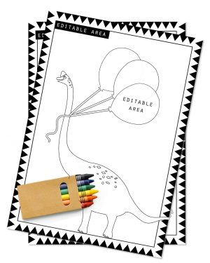 Printable Dinosaur Party Activity Sheets Coloring In Editable Collette and Co 4