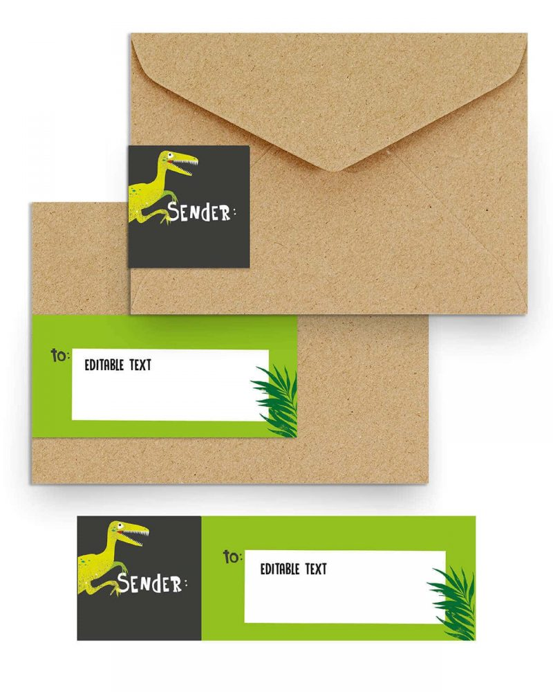 Printable Dinosaur Party Address Labels Editable Collette and Co 1