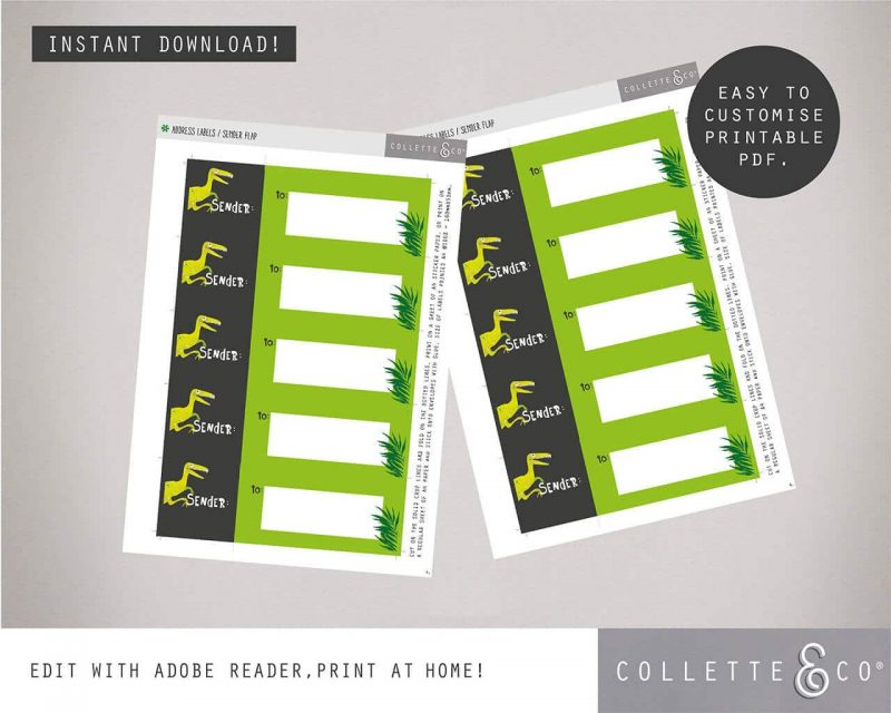 Printable Dinosaur Party Address Labels Editable Collette and Co 2