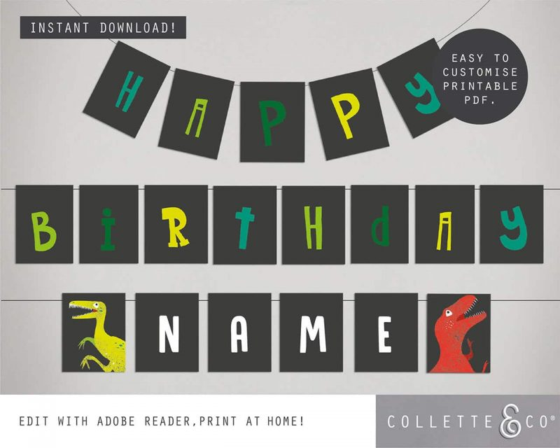 Printable Dinosaur Party Birthday Bunting Editable Collette and Co 4