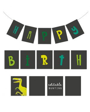 Printable Dinosaur Party Birthday Bunting Editable Collette and Co 5