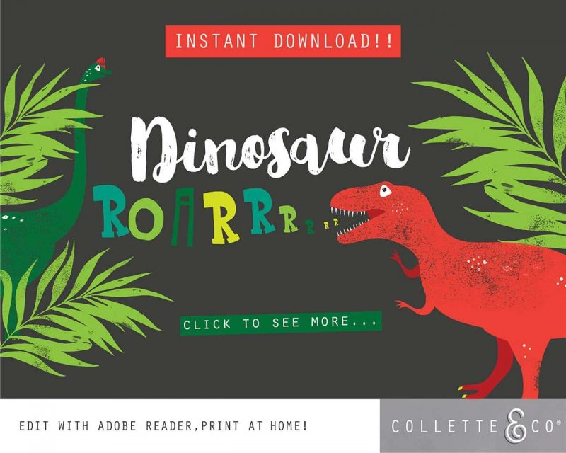 Printable Dinosaur Party Decorations Collette Co 23