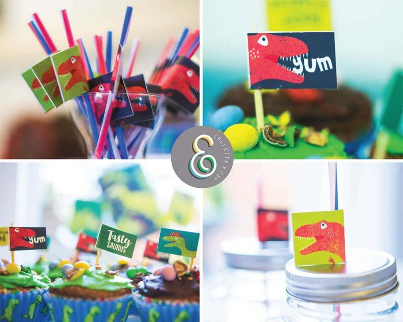 Printable Dinosaur Party Food Flags Straw Flags Editable Collette and Co 1