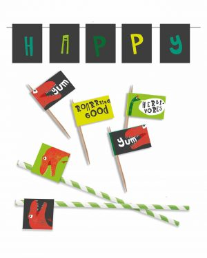 Printable Dinosaur Party Food Flags Straw Flags Editable Collette and Co 5