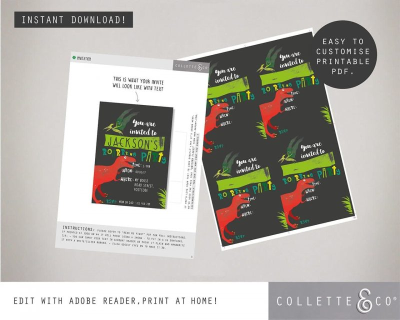 Printable Dinosaur Party Invitation Collette and Co 1