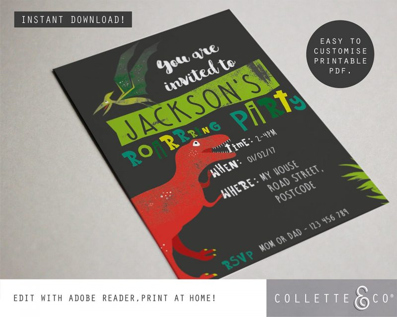 Printable Dinosaur Party Invitation Collette and Co 2
