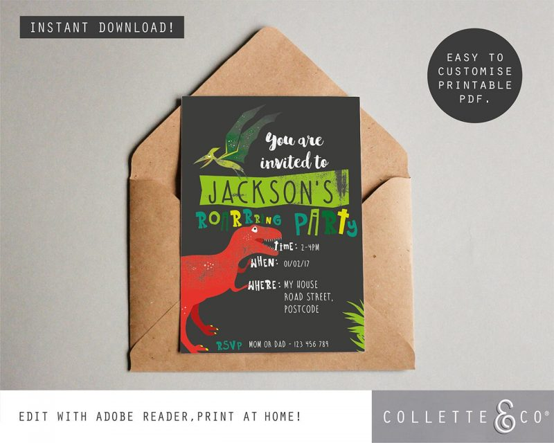 Printable Dinosaur Party Invitation Collette and Co 3