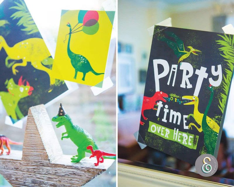 Printable Dinosaur Party Poster Pack x4 Editable Collette and Co 2
