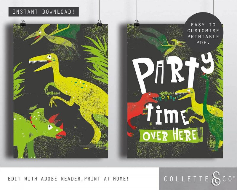 Printable Dinosaur Party Poster Pack x4 Editable Collette and Co 3