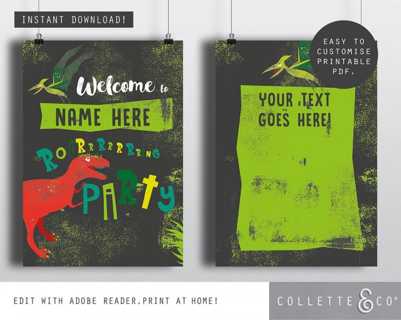 Printable Dinosaur Party Poster Pack x4 Editable Collette and Co 4