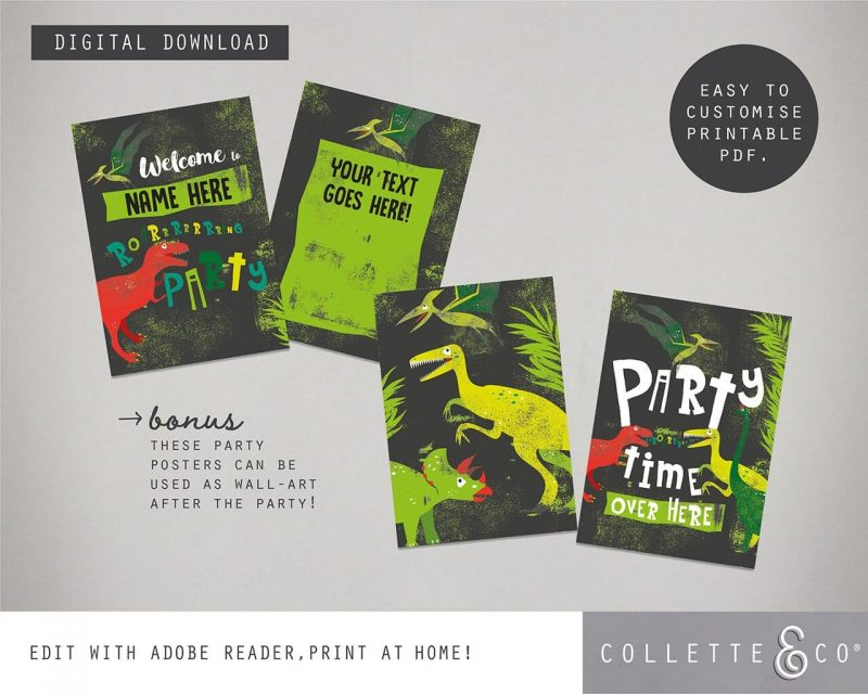 Printable Dinosaur Party Poster Pack x4 Editable Collette and Co 5