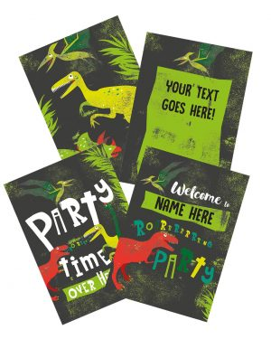 Printable Dinosaur Party Poster Pack x4 Editable Collette and Co 6